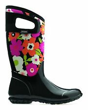 Bogs Womens Black Multi Floral Durable Waterproof Pull On Trendy Tall  Boot