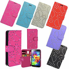 DELUXE PU LEATHER GLITTER BOOK WALLET CASE FOR SAMSUNG MODELS IN VARIOUS COLOURS