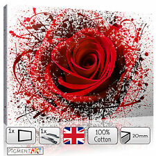 LARGE RED ROSE FLOWERS ABSTRACT FLORAL LOVE - CANVAS WALL ART PRINTS PICTURES A1