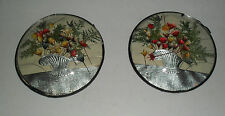 SET OF 2 PETER WATSONS STUDIO FLORAL BASKETS IN ROUND CONVEX GLASS FRAMES