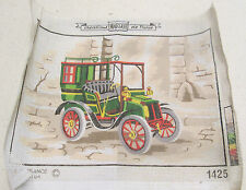 VINTAGE CAR AUTOMOBILE FRENCH CANVAS TAPESTRY NEEDLEPOINT COUNTED EMBROIDERY