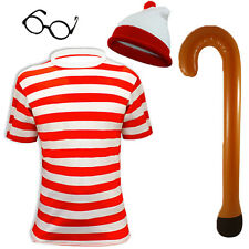 Mens Red White Striped Listing Hat T shirt Glasses Top Walking Stick Fancy Dress