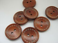 """10 Coat Buttons Black or Brown 25mm (1"""") Winter Coat Jacket Wood Sewing Buttons"""