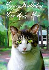 Domestic Cat All Occasions Personalised Greeting Card Birthday PIDCAT1
