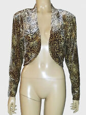 Mitra Modelle Vintage , ladies Cropped Animal Print Velvet Long Sleeves Jacket