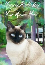 Siamese Cat Watercolour Occasions Personalised Greeting Card Birthday PIDCAT1