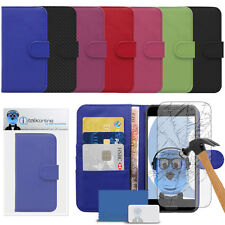 PU Leather Wallet Case & Tempered Glass Screen Protector For Huawei Ascend G620s
