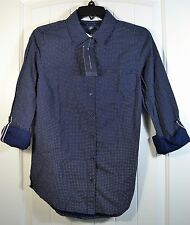 NWT WOMEN'S TOMMY HILFIGER NAVY WHITE DOT LONG SLEEVE BUTTON UP SHIRT SIZE SMALL