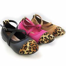 New Kids Youth Little Girls Pink Brown Black Animal Print Ankle Strap Flats Shoe