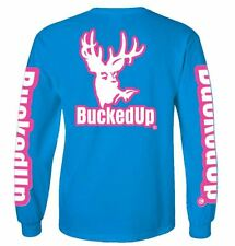 Bucked Up Long Sleeve Sapphire Shirt with Pink Logo