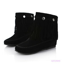 New Rivet Girls Mid Calf Boots Pull On Low Heels Shoes Tassels AU Size Y1545