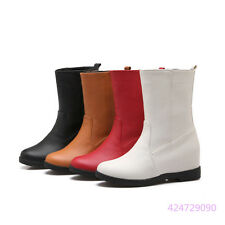 Womens Girls OL Mid Calf Boots Med Heels Pull On Shoes AU All Size Y1360