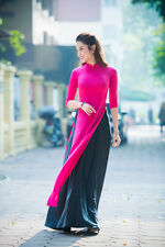 AO DAI Vietnam CUSTOM MADE, Pink Dress, Black SATIN Skirt, Best Price