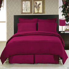 8pc Luxury Burgundy Duvet Cover & Comforter Bedding w/Microfiber Sheet Set