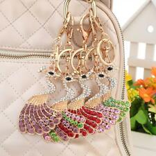 Crystal Peacock Peafowl Keyring Pendant Charm Key Bag Chain Ring Keychain L6O9