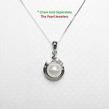 Genuine White Cultured Pearl Pendant set in 14k White Solid Gold with Diamonds