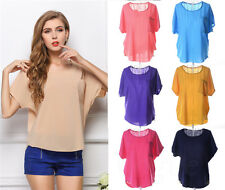 New Women Short Sleeve Pocket Blouse Chiffon Top Sheer Batwing Loose T-Shirt GH