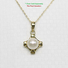 Genuine White Cultured Pearl Set 14k Solid Yellow Gold Love & Hearts Pendant TPJ