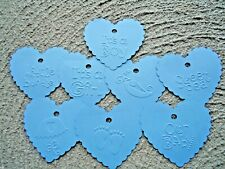 10 Kraft Gift Swing Tags Baby Blue Heart Embossed Bomboniere Favour Baby Shower
