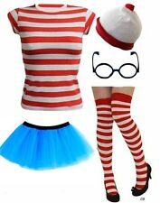 RED WHITE STRIPED TSHIRT SET CHARACTER Wheres Fancy Dress Outfit Funny Costume