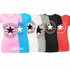 New Ladies Converse Star Cap Sleeves Racer Back Muscle Vest Tank T Shirt Top