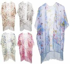 NEW WOMENS BUTTERFLY PRINT TASSEL KIMONO DRESS SUMMER HOLIDAY WEAR BEACH COVERUP