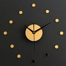 DIY Wall Clock Mirror Stickers Wall Watch Home Decor Vintage Hours Gold Silver