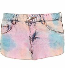 Stylish Ladies Summer Denim Shorts in Tie Dye Wash with Studded Pocket