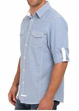 "English Laundry M MEDIUM ""Kent"" Blue Mens Snap Pocket Contrast Cuff Dress Shirt"