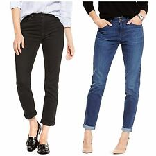 M&S Jeans 8 10 12 Relaxed Skinny 7/8 Ankle Grazer Tapered Leg Turn Up Black Blue