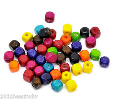 Wholesale Lots Mixed Square Cube Wood Spacer Beads 8x8mm