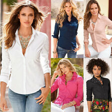 Womens Ladies Slim Fit Long Sleeve Cotton Casual Summer Shirt Top Fashion Blouse
