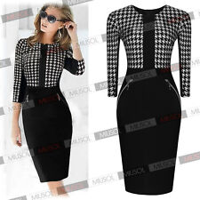 Womens Stylish Dog Tooth Print Office Ladies Party Celeb Bodycon Pencil Dresses
