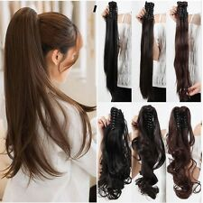 Blonde Ponytail Hairpiece Long Curly Claw Clip in/on Hair Piece Extension lnikt