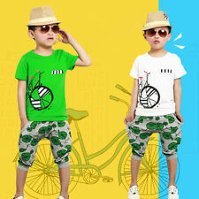 Kid Boys Bicycle Print Summer Short Sleeve Cotton T-shirt Pants Outfits Sets New