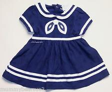 BABY GIRLS SAILOR DRESS NAVY WHITE NAUTICAL ANCHOR 0 3 6 9 MONTHS