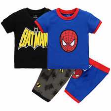 Baby Boy Kids Spiderman Batman T-shirt +Pants Shorts Pajamas Outfit Clothes Set