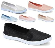 WOMENS TRAINERS LADIES PUMPS FLATS SLIP ON CANVAS SKATER SHOES CASUAL SIZE NEW