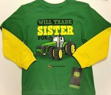 NEW John Deere Green Yellow Layered Sleeve Will Trade Sister for Tractor 4 5 6 7