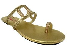 US New Womens Sandals Gladiator Thong T Strap Flat Saree Khussa Sandals  DD573