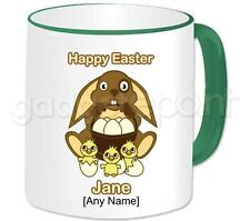 Personalised Easter Gift Mug with Easter Bunny, Chicks and Eggs Coffee Tea Cup