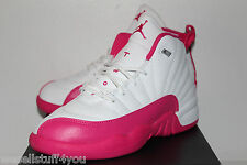 Air Jordan Retro 12 XII Vivid Pink White Sneakers Girl's PS Size 1 1.5 2 3 New
