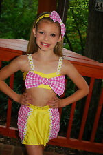 pink yellow gingham competition dance costume  CM CML Adorable Farm Girl