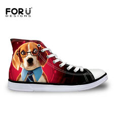 Funny Animal Canvas Shoes Women's Flat Higt Top Shoes Lace Up Casual Sneakers