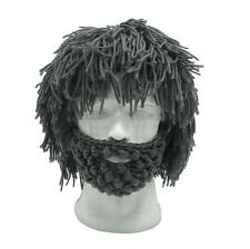 Men Crochet Knitted Rasta Beanie Hat With Bearded Mask Photography Props Costume