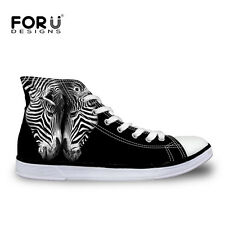 Cool Animal Canvas Shoes Fashion High Top Lace Up Casual Shoes Sneakers For Men