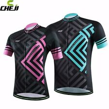 NEW Men's And Women's Cycling Jersey Polyester Bike Bicycle Shirt Top Blue/Pink
