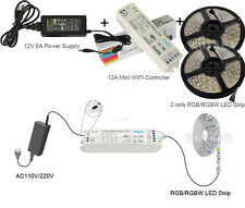 DC12V 5M 300leds RGB RGBW LED Strip+ 12A 2.4G Mini Wifi Controller+Power Supply