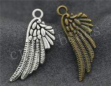 40/200pcs Antique Silver/Bronze bird wings Jewelry Craft Charms Pendant 29x11mm