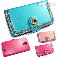 Shining Artificial Rhinestone PU Leather Wallet Case Cover For Vivax Smart Phone